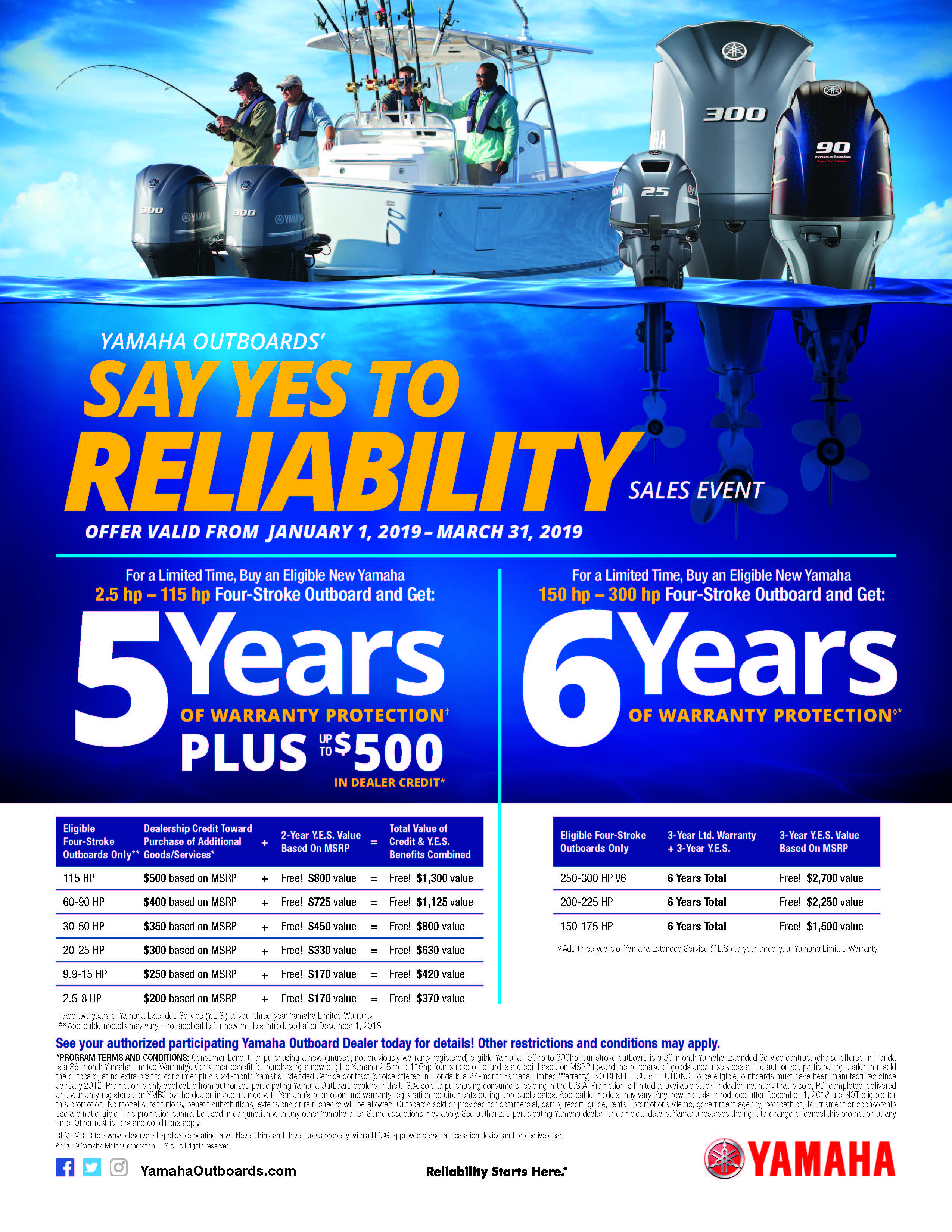 2019 Say Yes to Reliablity Sales Event Print Ad